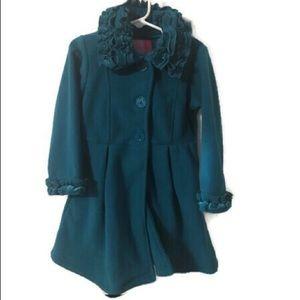 Good Lad Fleece Ruffle Coat 4T Turquoise